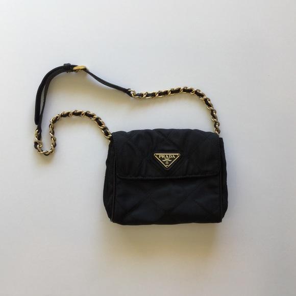 5ff9f1c2df5e Prada Quilted Nylon Belt Bag with Chain. M 5afb7fef5512fddacda267ca
